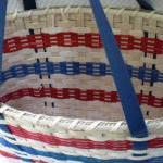 Handwoven Tote Basket with Blue Sha..