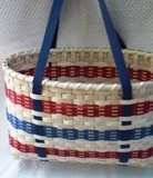Handwoven Tote Basket with Blue Shaker Tape Handles