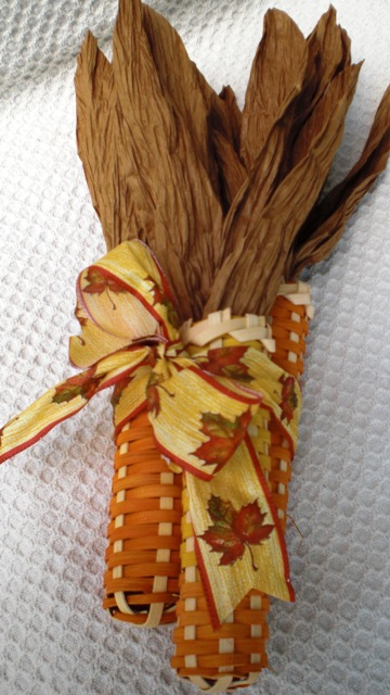 Corn Orange and Yellow with Fall Leaf Ribbon 102